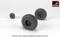 AH-64 Apache wheels w/ weighted tires, ribbed hubs 1/48