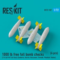 1000 lb free fall bomb checks (114 tail-947 tail fuze) (4 pieces) (1/72)