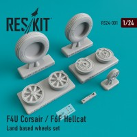 F4U Corsair / F6F Hellcat Land based смоляные колеса 1/24